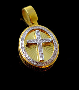 21k 21ct Solid Gold Cross Designer Christian Religious Zirconia Pendent P1315 | Royal Dubai Jewellers
