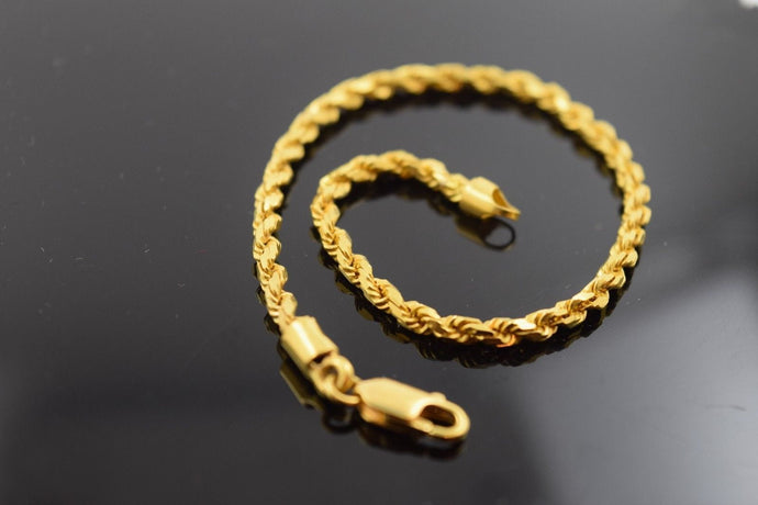 22k Solid Gold ELEGANT Bracelet Rope Design length 8.0 Inch Cb209