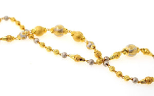 22k Yellow Solid Gold Chain Necklace Two Tone Ball Design Length 26 inch c825