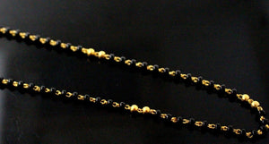 22k 22ct Gold Yellow BLACK beads STONE CHAIN ADJUST LENGHT c765