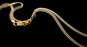 22k 22ct Yellow Solid Gold GORGEOUS SIMPLE FLAT TWO TONE CHAIN NECKLACE c936 | Royal Dubai Jewellers