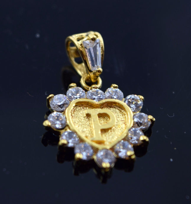 22k Jewelry Solid Gold Heart Shape Pendent P letter pp1