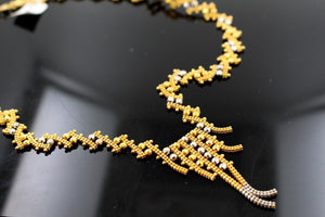 22k 22ct Solid Gold Simple Light Chain Set Modern Two Tone Design cs124 | Royal Dubai Jewellers