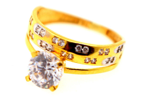 "22k 22ct Solid Gold ELEGANT Ladies Stone Ring SIZE 6.5 RESIZABLE"" R1590"