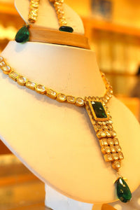 22k 22ct Solid Gold Elegant Traditional Kundan Set Necklace with STONE KS121