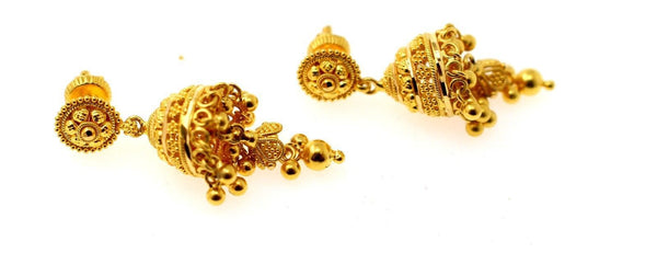 22k 22ct Jewelry Solid Gold ELEGANT LONG JHUMKE DANGLING Earring e5804 - Royal Dubai Jewellers