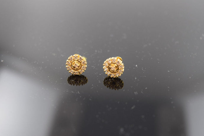 22k 22ct Solid Gold ELEGANT ROUND SHAPE STONE STUD EARRING Diamond Cut p486