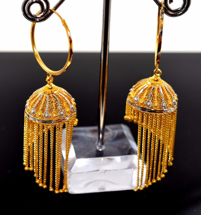 22k Solid Gold Diamond cut Hoop Earring .75 inch Antique Design e833 | Royal Dubai Jewellers
