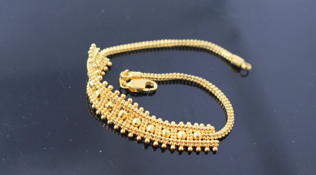 22k 22ct Solid Gold ELEGANT Charm Bracelet Simple Design Length 7.5 Inch B701 - Royal Dubai Jewellers