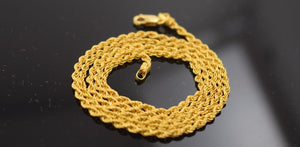 22k Yellow Solid Gold Chain Necklace 0.05mm Rope Design mf c178