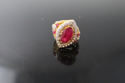 "22k 22ct Solid Gold ELEGANT Antique Ladies Stone Ring SIZE 5.0 ""RESIZABLE"" r1530"