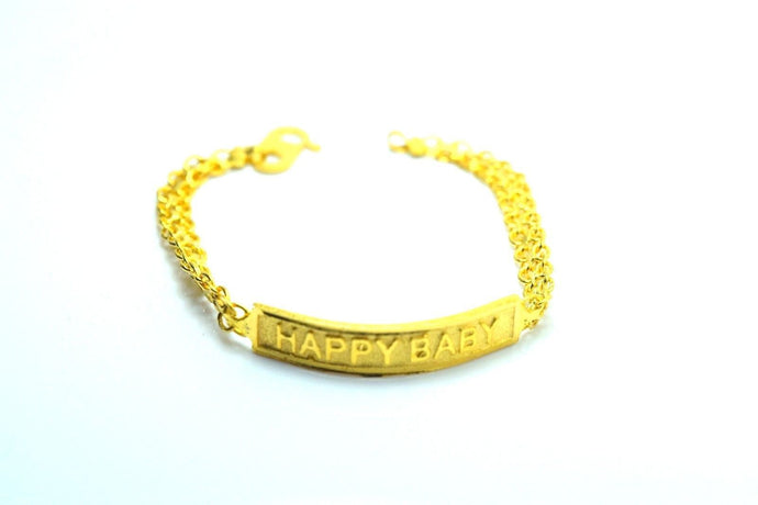 22k 22ct Solid Gold HAPPY BABY CHILD BRACELET BANGLE CUFF CB11