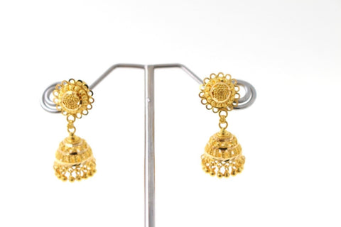 22k 22ct Solid Gold ELEGANT LONG JHUMKE EARRINGS Antique Design E5770