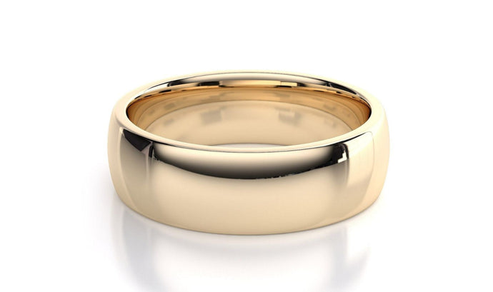 14k Solid Gold 7mm Comfort Fit Wedding Flat Band in 14k Yellow Gold