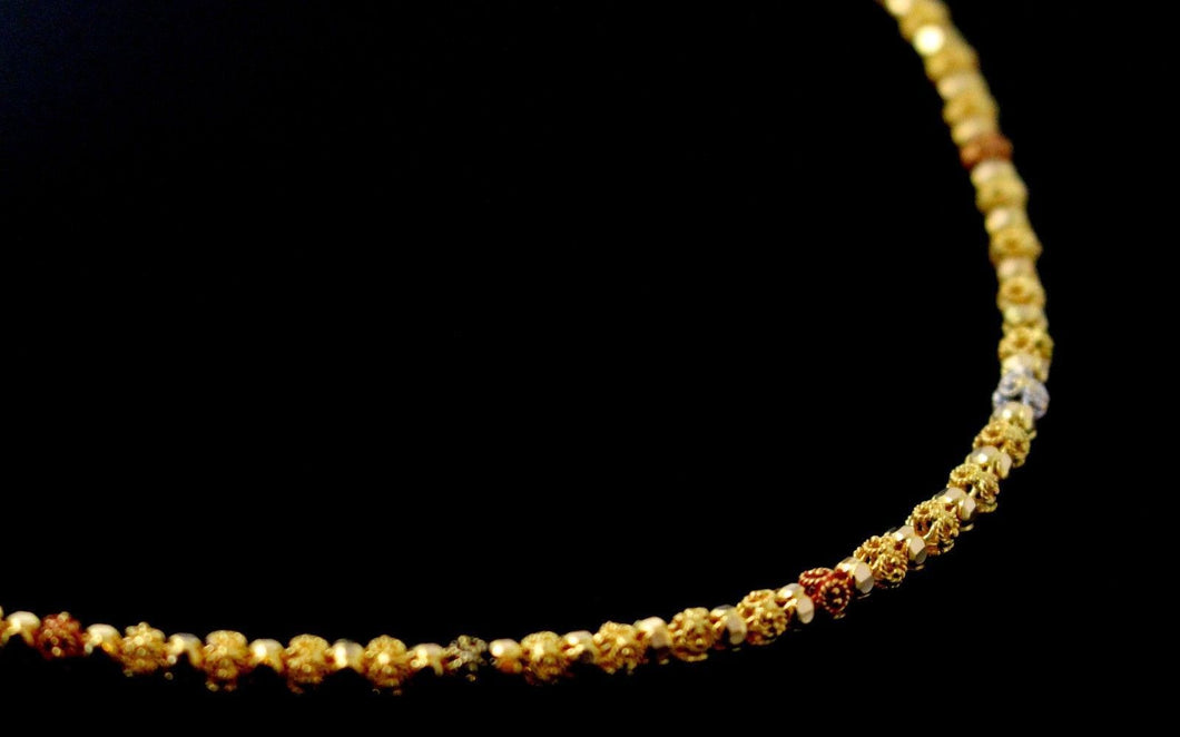 22k Yellow Solid Gold Chain Necklace Multi color Ball Design Length 33 inch c822 | Royal Dubai Jewellers