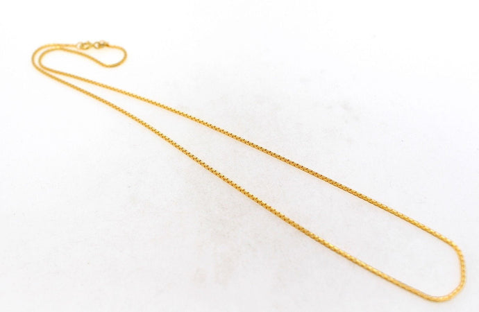 22k Gold Yellow 22ct Elegant Chain Unique Simple Box Design Length 16 inch c594