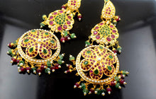 22k Solid Gold Chandeliers LONG 3 Tier EARRINGS Dangle Ruby Pearl Emerald E595