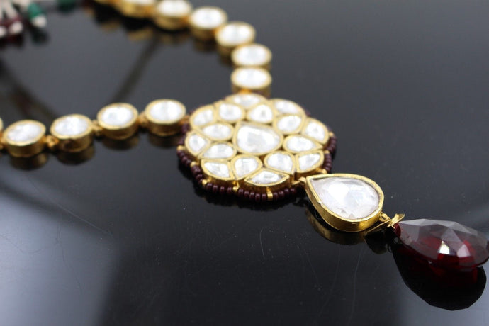 22k 22ct Solid Gold Elegant Traditional Kundan Set Necklace with STONE KS110 | Royal Dubai Jewellers