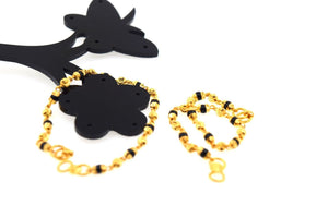 1pc 22k Solid Gold Baby Bracelet Bangle Cuff cb294 evil eye black bead onyx - Royal Dubai Jewellers