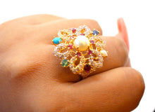 "22k 22ct Solid Gold ELEGANT Antique Ladies Stone Ring SIZE 7.5 ""RESIZABLE"" r1534"