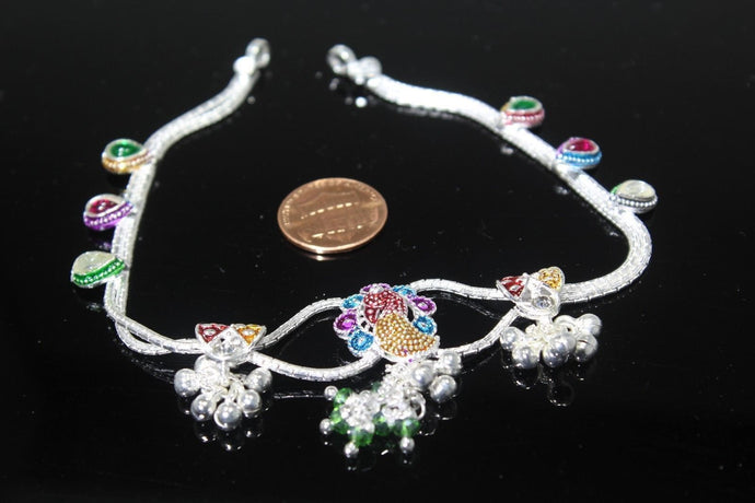 2PC HANDMADE Solid Silver Payal 925 sbb108 Sterling adult ladies Anklets | Royal Dubai Jewellers