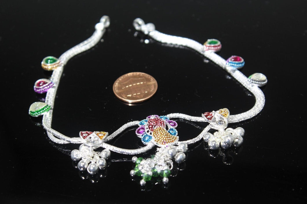 2PC HANDMADE Solid Silver Payal 925 sbb108 Sterling adult ladies Anklets