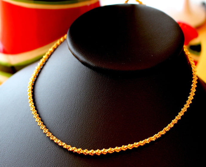 22k Chain Yellow Solid Gold Rope Necklace Simple Design 2.45mm c578