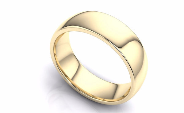 "14k Solid Gold 7mm Comfort Fit Wedding Flat Band in 14k Yellow Gold ""All sizes """