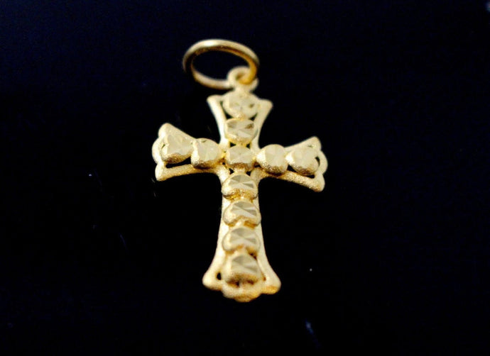 22k 22ct Solid Gold Christian Cross Pendant Charm Locket p1276