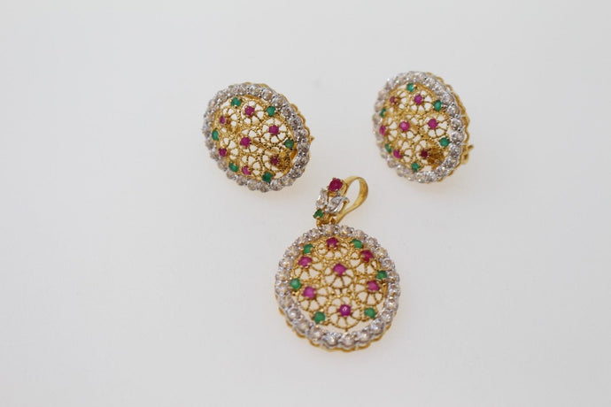 22k 22ct Solid Gold ELEGANT PENDANT SET Natural Stone Floral Design p1305