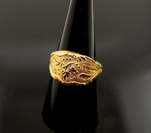 "22k Solid Gold ELEGANT STONE Ring modern Design ""RESIZABLE"" R409 size 8"