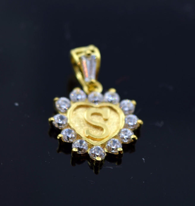 22k Jewelry Solid Gold Heart Shape Pendent S letter p325