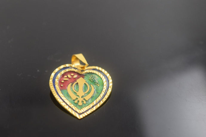 22k 22ct Solid Gold Sikh Religious HEART SIKHI KHANDA  pendant with Box p407