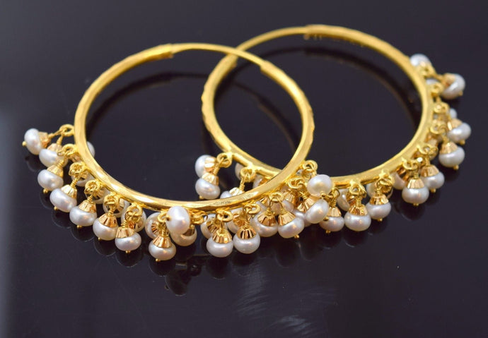 22k 22ct Solid YELLOW Gold ELEGANT NATURAL PEARL STONE HOOP BALI EARRINGS E1331 | Royal Dubai Jewellers