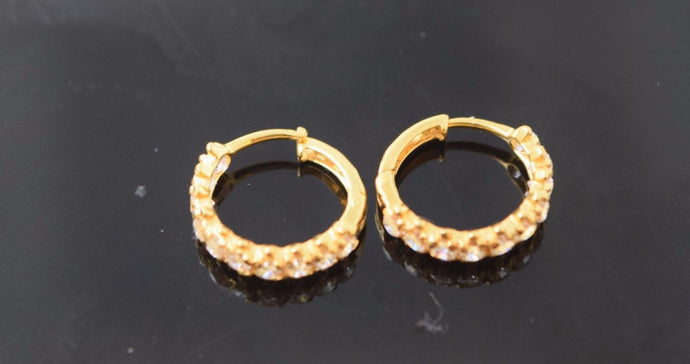 22k 22ct solid gold ELEGANT STONE ZIRCONIA HOOPS BALI EARRINGS FREE BOX E1345