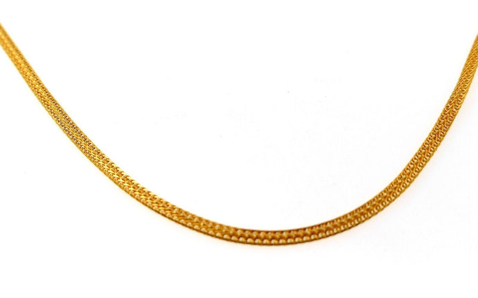 22k Chain Yellow Solid Gold Rope Necklace Simple Popcorn Design 3.00mm c844