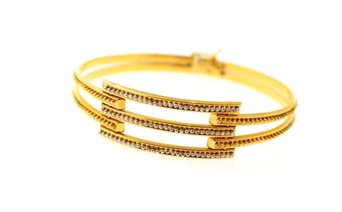 22k 22ct Solid Gold Elegant Ladies Single Designer Bangle Lock Bracelet B868
