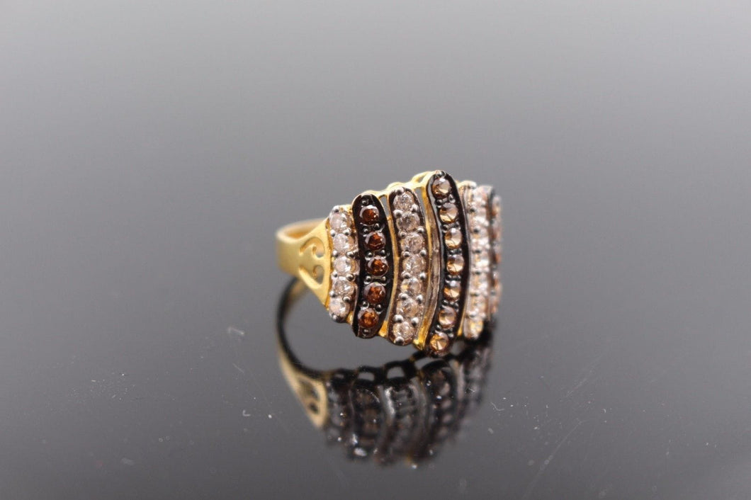 22k Jewelry Solid Gold ELEGANT Two Tone Ring Size 5.5