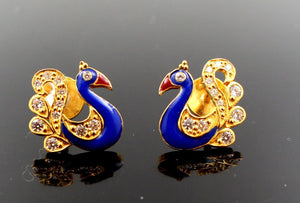 22k 22ct Solid Gold ELEGANT Charm Earring Blue Peacock Design e5172