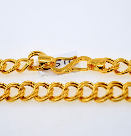 22k 22ct Solid Gold DOUBLE STYLISH CURB MEN THICK CHAIN LENGHT 20 c516 | Royal Dubai Jewellers