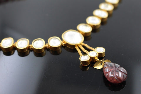 22k 22ct Solid Gold Elegant Traditional Kundan Set Necklace with STONE KS109