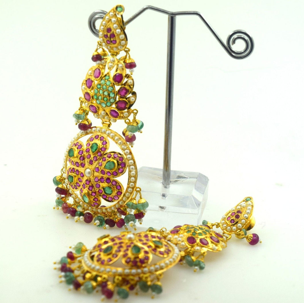 22k Solid Gold Chandeliers LONG 3 Tier EARRINGS Dangle Ruby Pearl Emerald E595 | Royal Dubai Jewellers