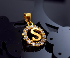 "22k 22ct Solid Gold ROUND ""S"" letter with BOX p461"