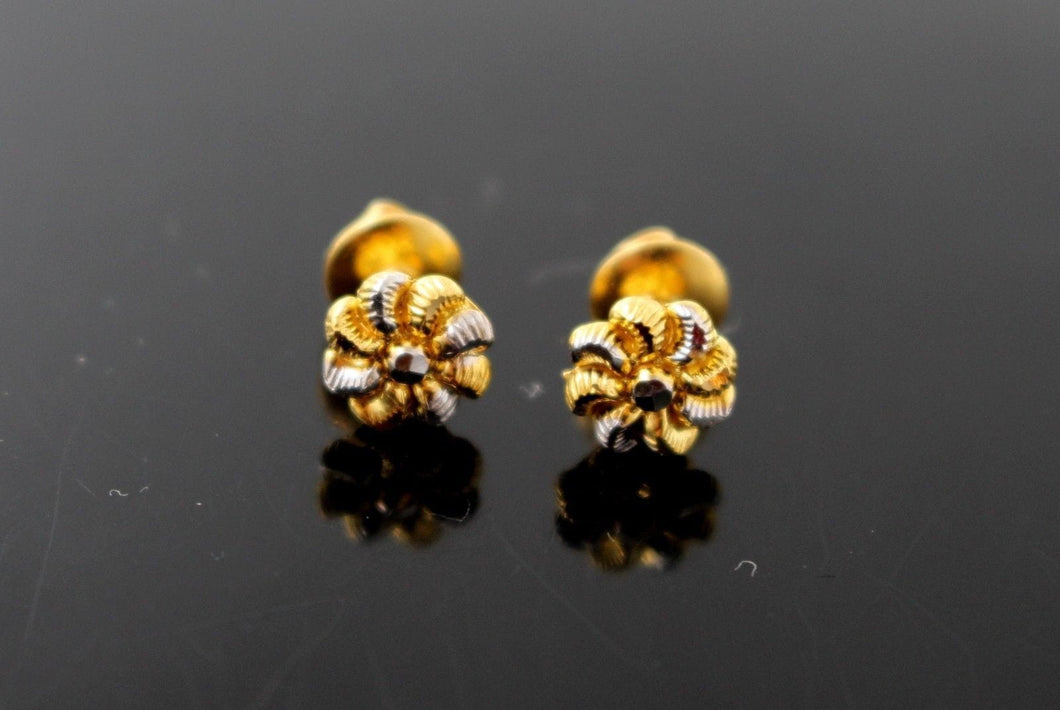 22k 22ct Solid Gold ELEGANT ROUND SHAPE Simple STUD EARRING Two Tone e5251