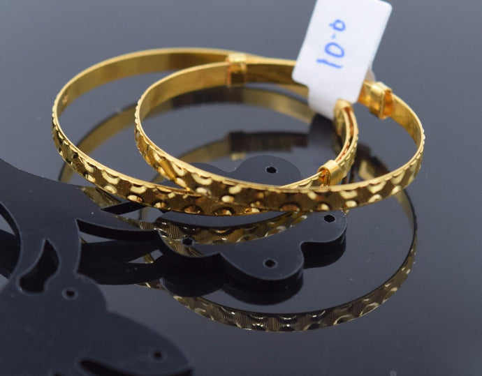 22k Jewelry Solid Gold ELEGANT PLAIN BABY CHILDREN BANGLE BRACELET cb282 1PC