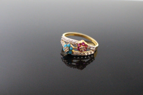 "22k 22ct Solid Gold ELEGANT Antique Ladies Stone Ring SIZE 6.5 ""RESIZABLE"" r1556 - Royal Dubai Jewellers"