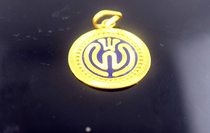 22k 22ct Solid Gold Sikh Religious SIKHI KHANDA pendant with Box p404