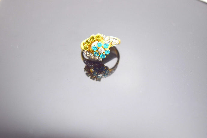 22k Solid Gold ELEGANT BLUE GREEN STONES band Ring New Style