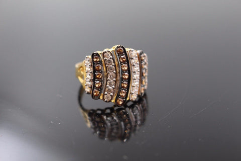 "22k Jewelry Solid Gold ELEGANT Two Tone Ring Size 5.5 ""RESIZABLE"" R1015 
