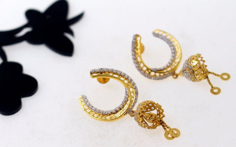 22k 22ct Solid Gold BEAUTIFUL EARRING ZIRCON LONG HANGING Design E5075